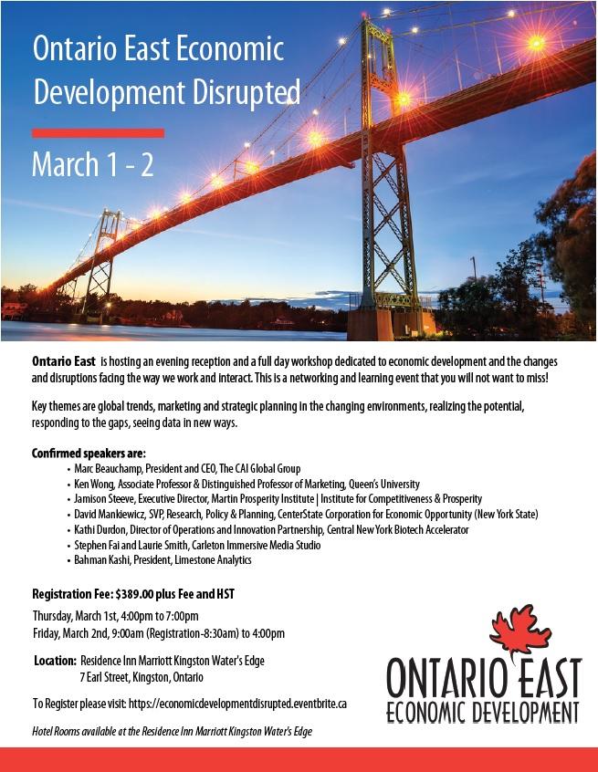 Ontario East Economic Development Disrupted - Registration Open